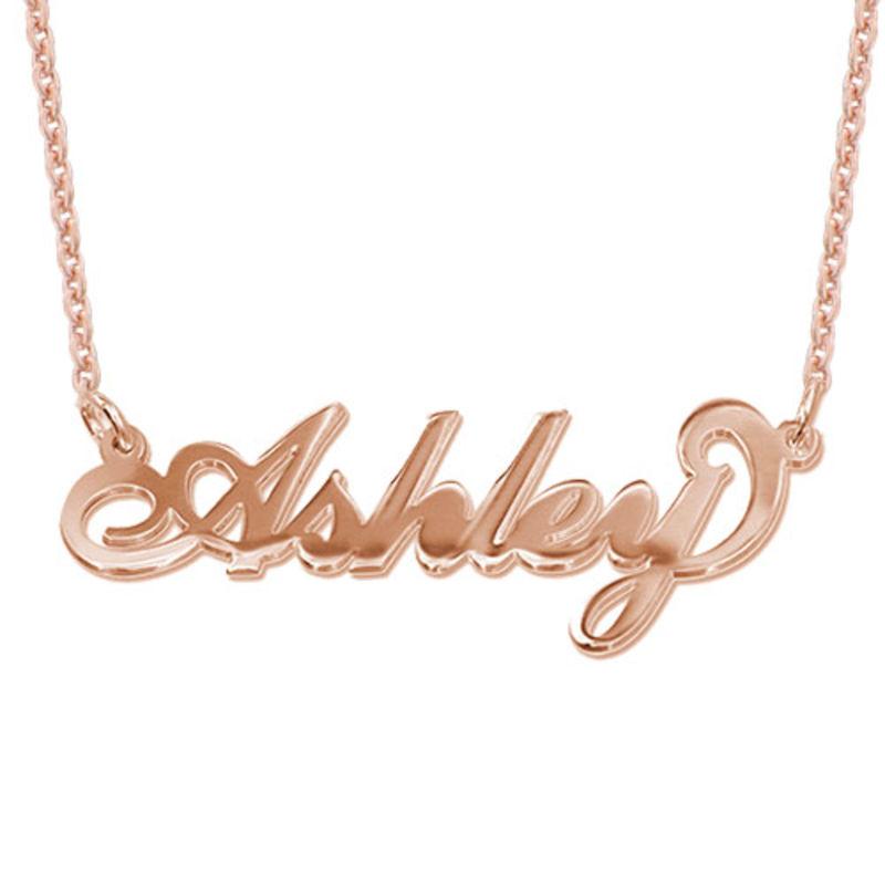 """Collar con nombre Estilo """"Carrie"""", plata chapada en oro 18k Rosa"""
