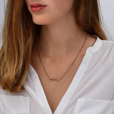 """Collar con nombre Estilo """"Carrie"""", plata chapada en oro 18k Rosa - 1"""