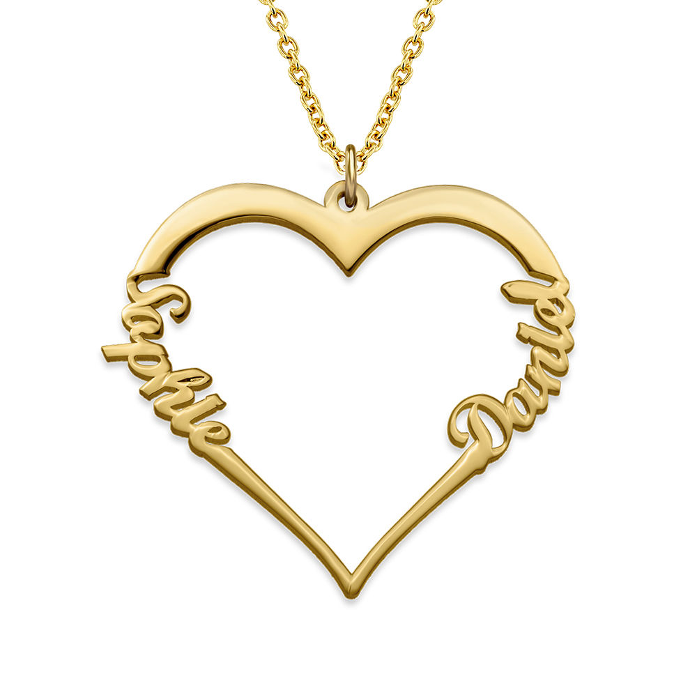 Collar corazón con de escritura personalizada chapado en oro vermeil 18k