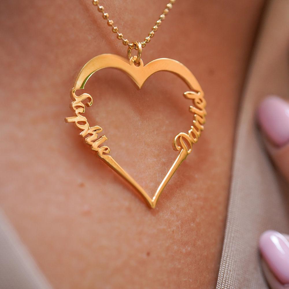 Collar corazón con de escritura personalizada chapado en oro vermeil 18k - 3