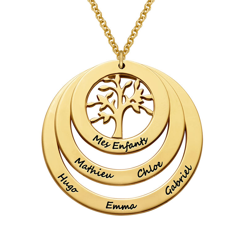 Collar del Círculo de Familia con Árbol de la Familia en Oro Vermeil