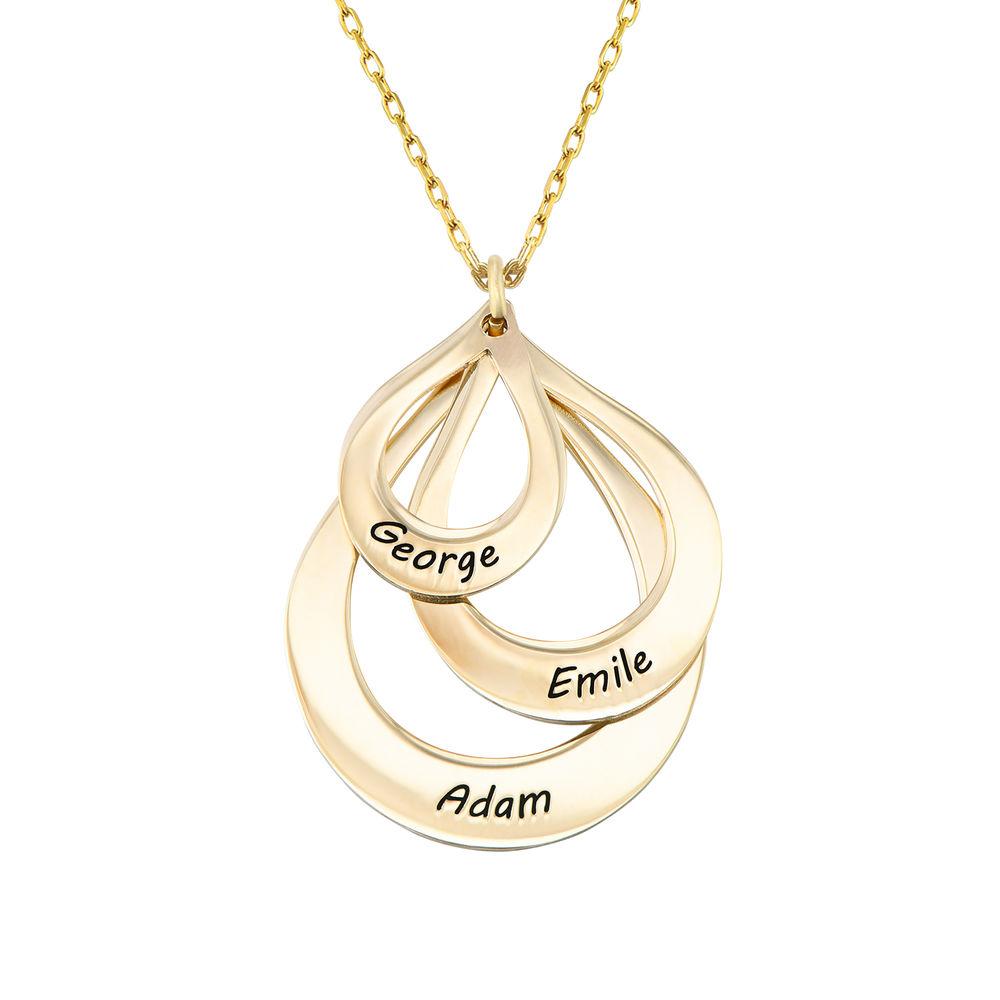 Collar de Gota de la Familia Grabada en oro 10k - 1
