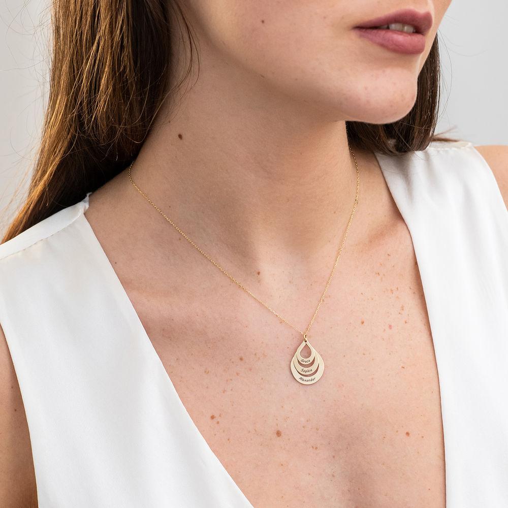 Collar de Gota de la Familia Grabada en oro 10k - 2