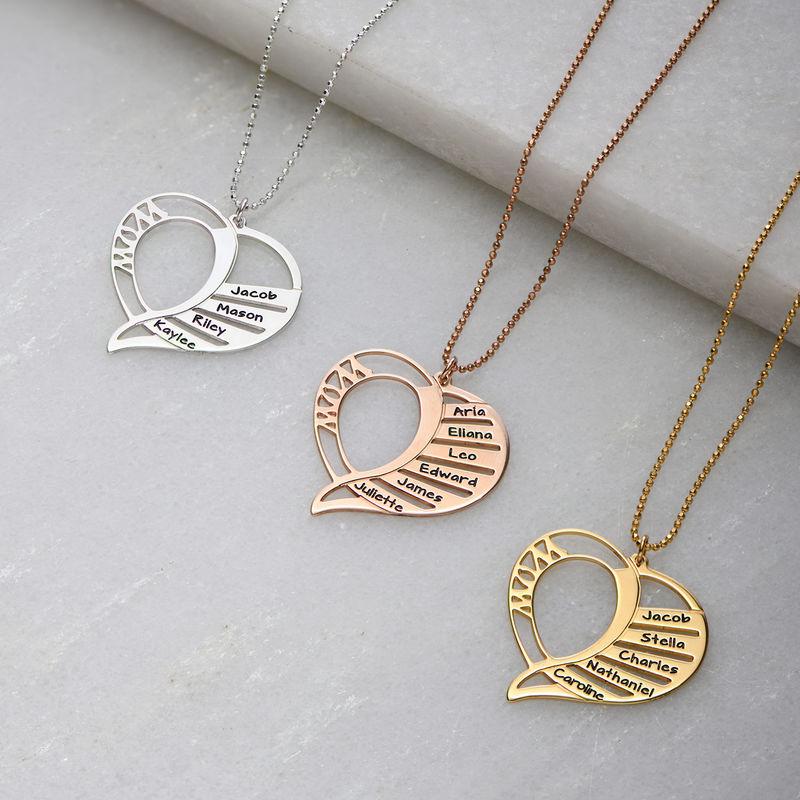 Collar Grabado en forma de  corazón para Mamá en Chapado de Oro 18k. - 1