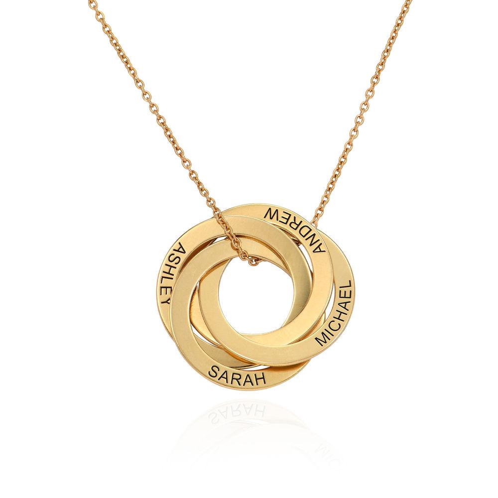 Collar de anillo ruso con cuarto anillos en plata 925 chapado en oro 18k