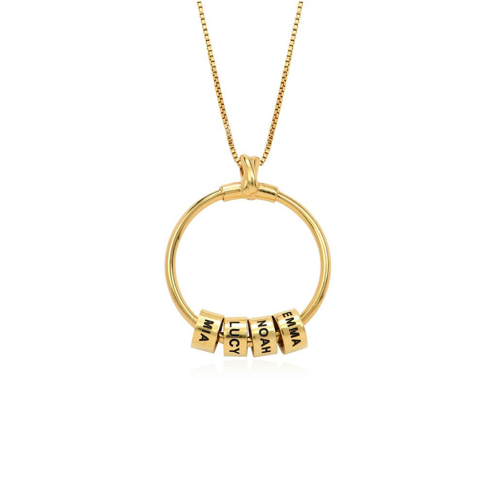 Linda Collar con colgante circular con hoja y perlas personalizadas™ Chapado en Oro 18K - 2
