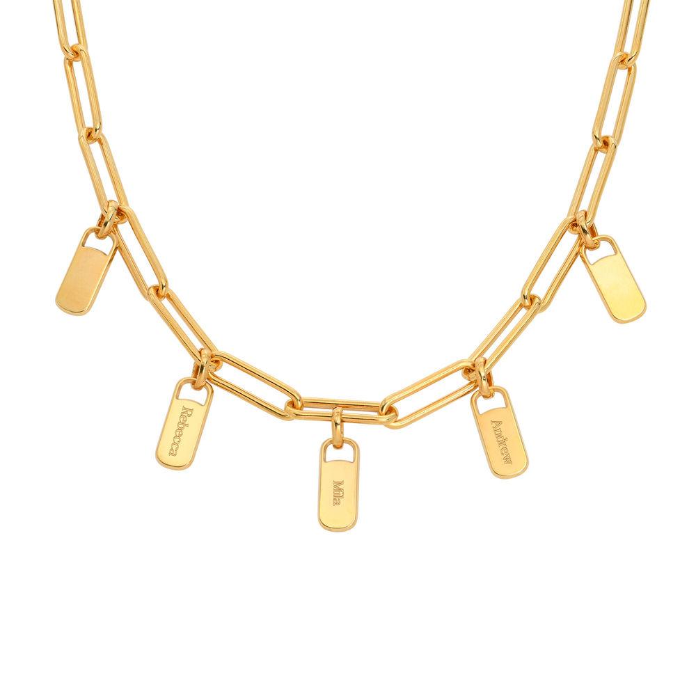 Collar de eslabones de cadena con encantos personalizados en chapa de oro