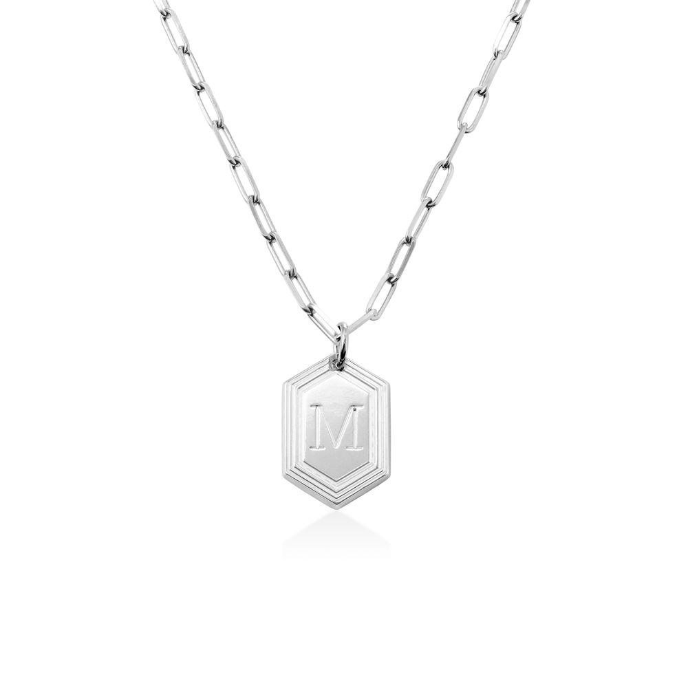 Cupola collar de cadena de eslabones con inicial en plata de ley