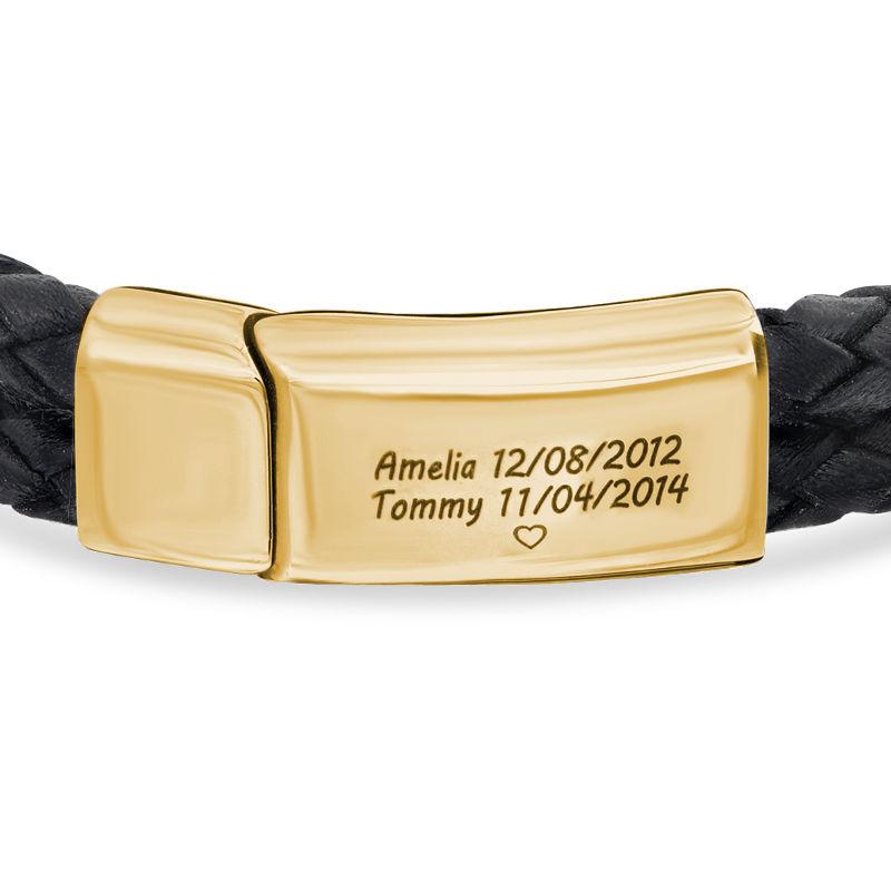 Pulsera grabada para hombre en acero inoxidable y cuero negro chapado en oro 18k - 1