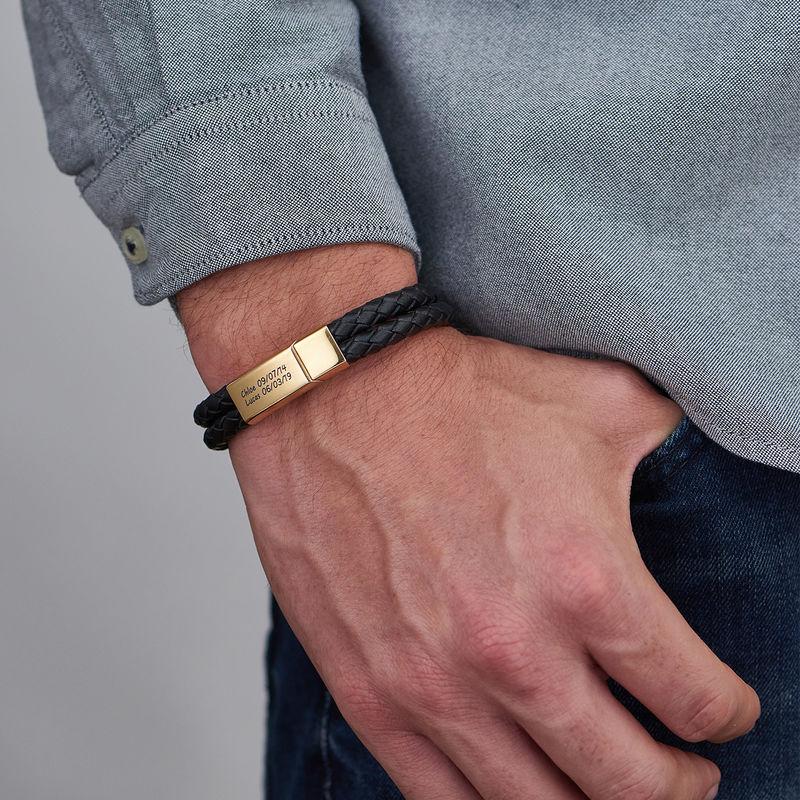 Pulsera grabada para hombre en acero inoxidable y cuero negro chapado en oro 18k - 3