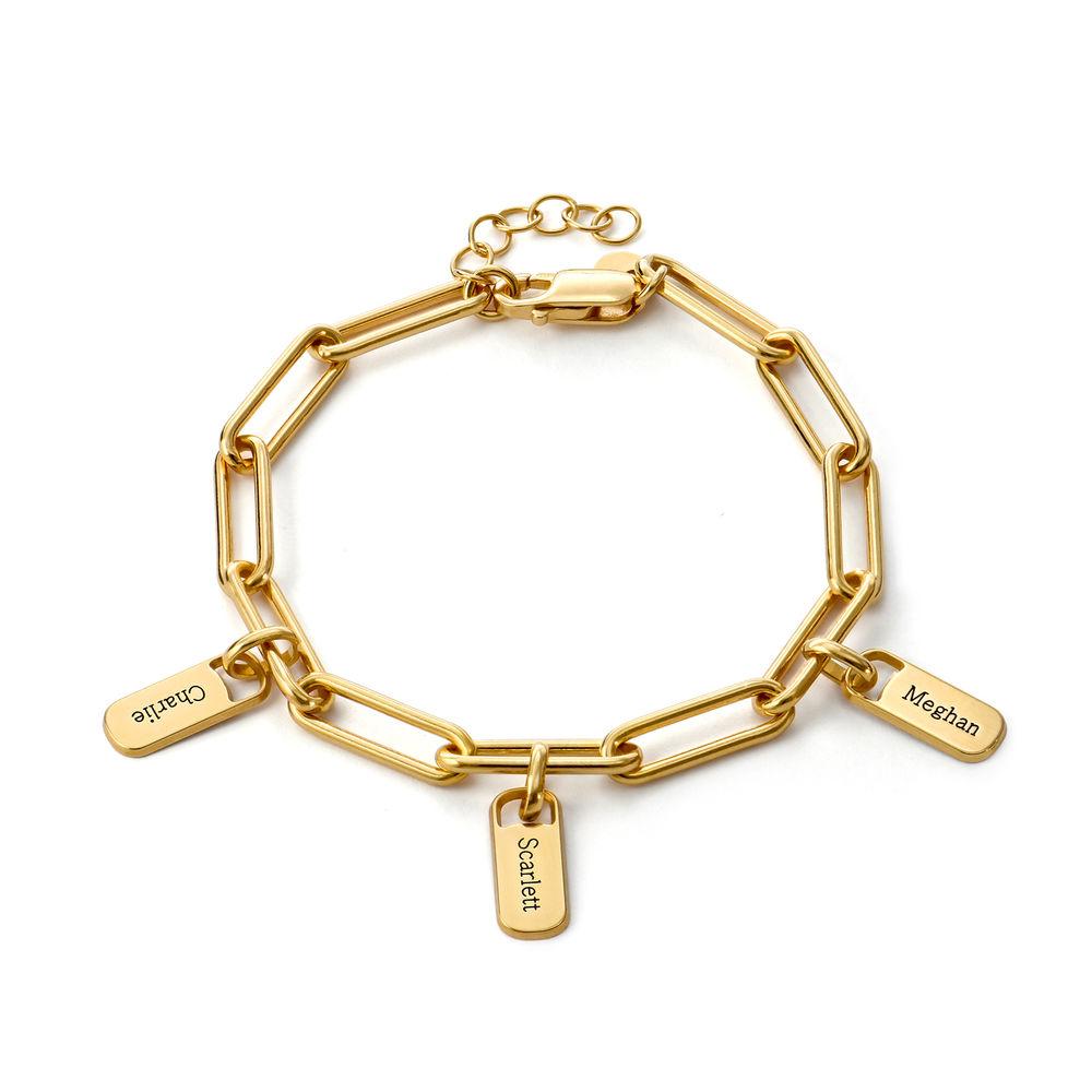 Pulsera de eslabón de cadena con encantos personalizados chapada de oro vermeil18k - 1