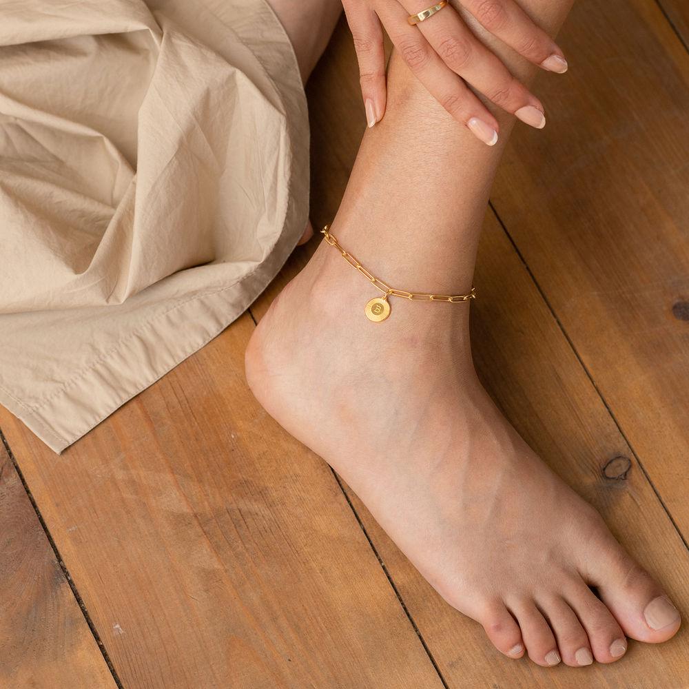 Odeion Pulsera / Tobillera de cadena de eslabón inicial en chapa de oro vermeil de 18k - 3