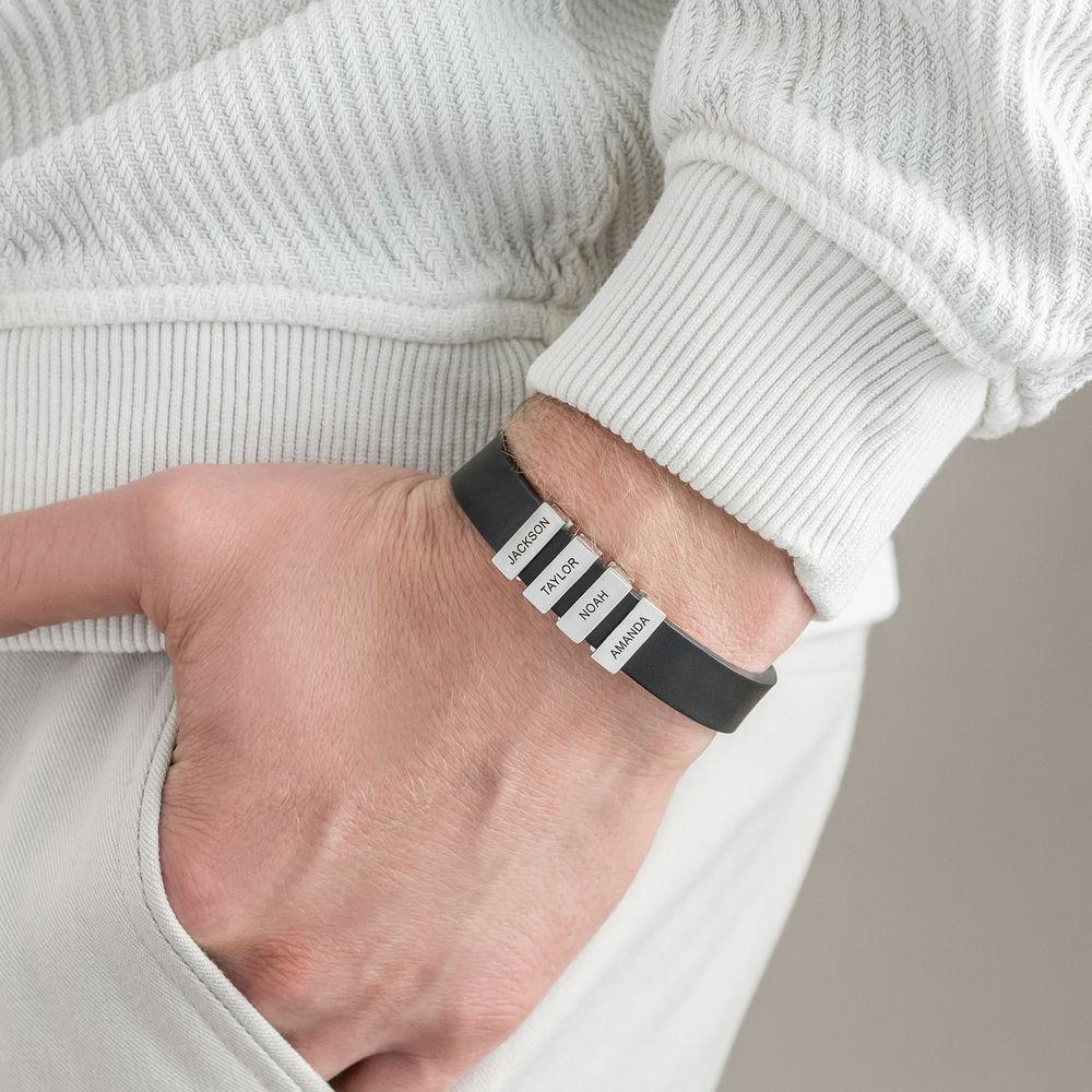 Pulsera de cuero negro para hombre con cuentas de plata personalizadas - 4