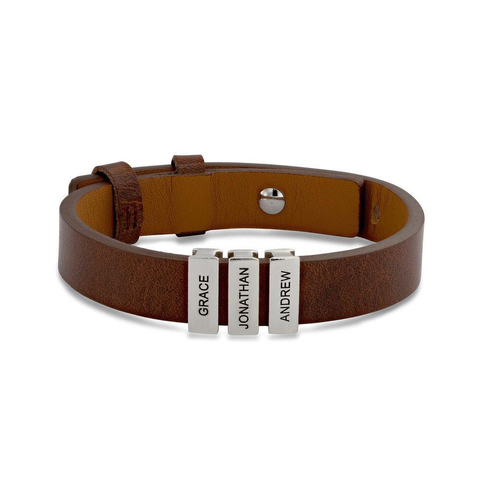 Pulsera de cuero marrón para hombre con cuentas de plata personalizadas