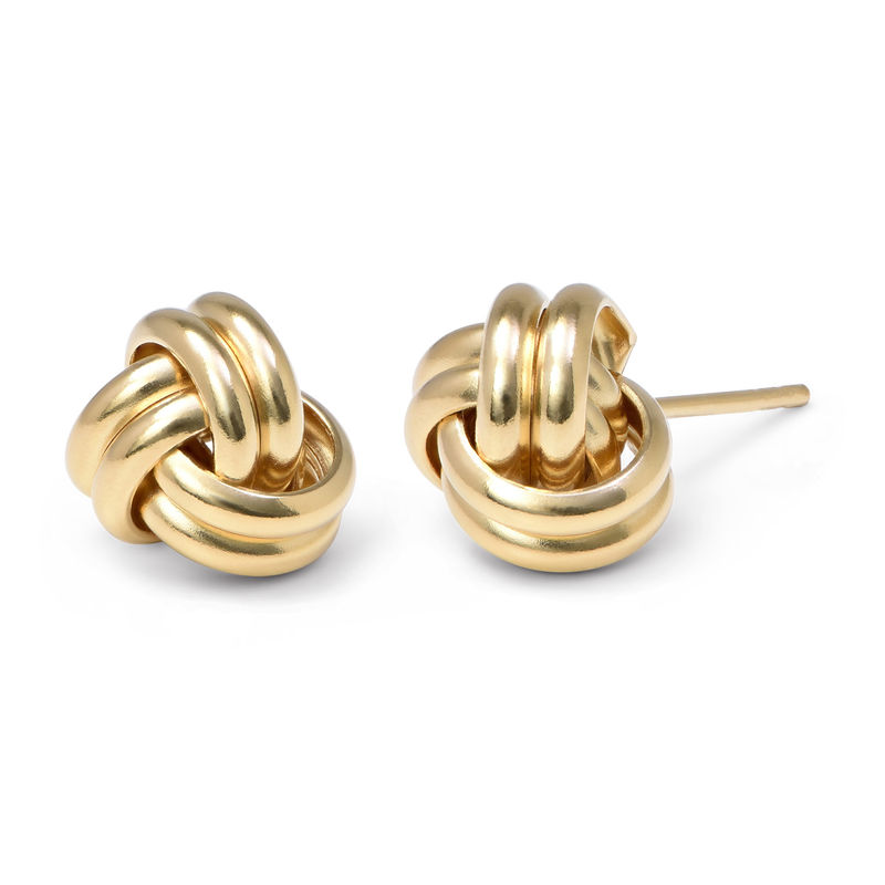 Aretes con nudo de amor chapados en oro