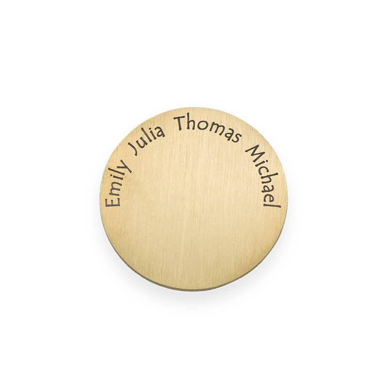 Placa para Medallón Flotante – Disco con Nombres Grabados Chapado en Oro