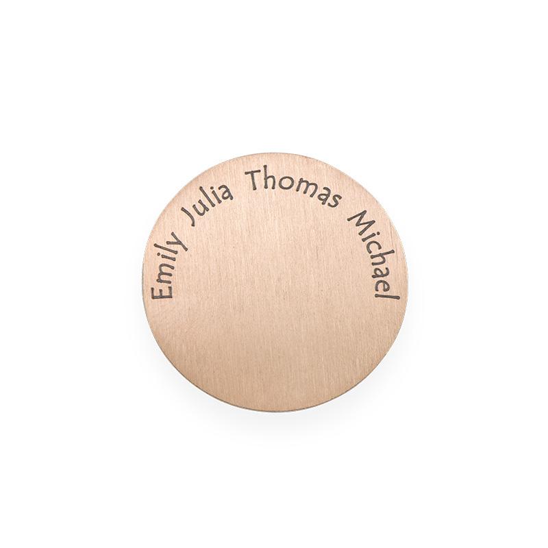 Placa para Medallón Flotante – Disco con Nombres Grabados Chapado en Oro Rosa