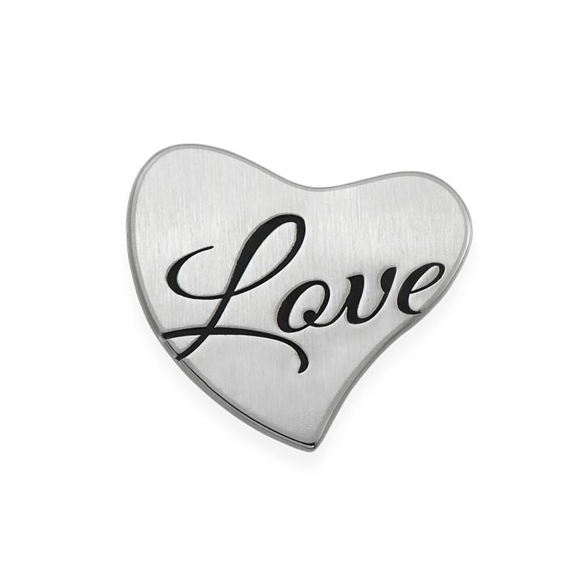 Placa para Medallón Flotante – Corazón Grabado en Plata