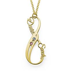 Collar Infinito con Nombre Vertical con Piedra de la fortuna Chapado foto de producto