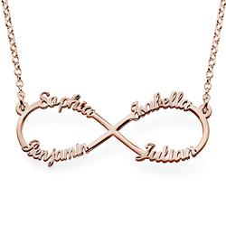 Collar Infinito de 4 nombres en Chapado de Oro Rosa foto de producto