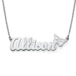 Collar con Nombre y Mariposa en Plata foto de producto