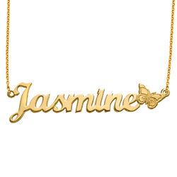 Collar con Nombre de Mariposa en Chapa de Oro foto de producto