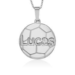 Collar de Fútbol con Nombre en Plata de Ley foto de producto