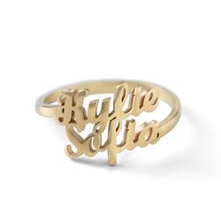 Anillo Personalizado con Dos Nombres Chapado en Oro foto de producto