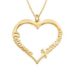 Collar corazón con de escritura personalizada en oro 10k foto de producto