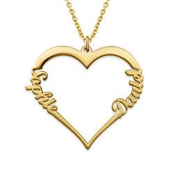 Collar corazón con de escritura personalizada chapado en oro vermeil foto de producto