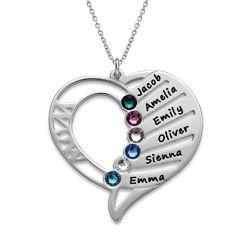 Collar Grabado con piedras de nacimiento para Mamá. foto de producto