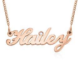 Pequeño collar con nombre clásico en chapado de oro rosa 18k con foto de producto