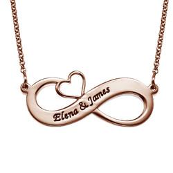 Collar Infinito con Nombres y Corazón Calado - Chapa de Oro Rosa foto de producto