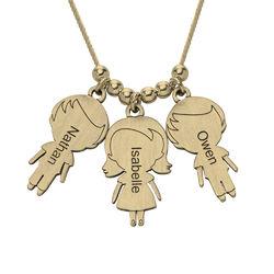 Collar con Colgantes Niño y Niña para Mamá Chapado en Oro foto de producto