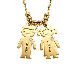 Collar con colgante de niños con diamantes chapado en oro foto de producto