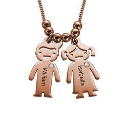 Collar con colgante de niños con diamantes chapado en oro rosa foto de producto