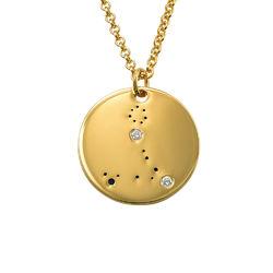 Collar Constelación de Piscis con Diamantes Chapado en Oro foto de producto