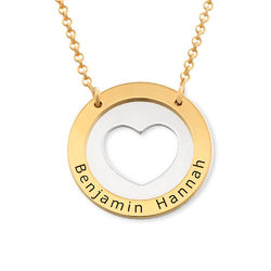 Collar de corazón circular en plata y chapado en oro foto de producto