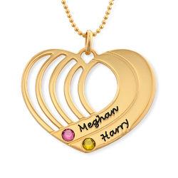 Collar de corazón grabado chapado en oro foto de producto