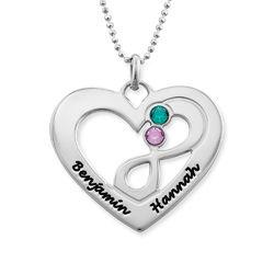 Collar de corazón en plata con piedras de nacimiento foto de producto