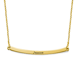 Collar de barra curvado personalizado en chapa de oro de 18K foto de producto
