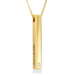 Collar vertical de barra 3D en chapa de oro 18k con diamante foto de producto