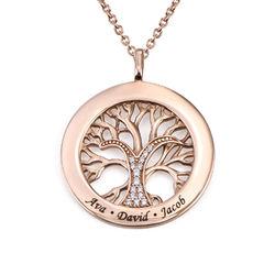 Collar con círculo con árbol de la vida y circonia cúbica chapado en foto de producto