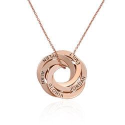 Collar de anillo ruso con cinco anillos en plata 925 chapado en oro foto de producto