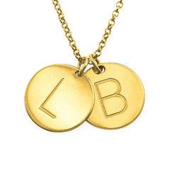 Collar de Charm con Inicial chapado en oro foto de producto