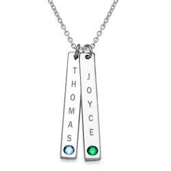 Collar colgante Vertical de Plata Esterlina con cristales foto de producto