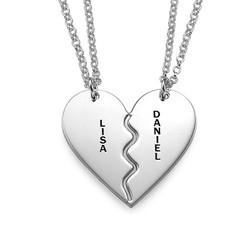 Collar Personalizado de Plata con Corazón Divisible foto de producto