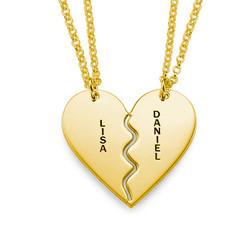 Collar Personalizado Chapado en Oro con Corazón Divisible foto de producto