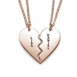 Collar Personalizado Chapado en Oro Rosa con Corazón Divisible foto de producto