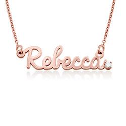 Collar de nombre cursivo en chapa de oro rosa 18k con diamante foto de producto
